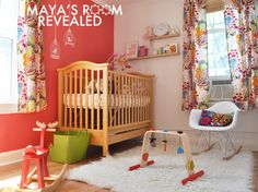 Love the fabric and wall color! Project Nursery - Maya