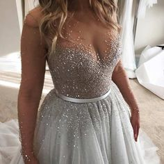 Gray, See-Through Wedding Dress