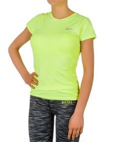 Stephanie Neon Yellow Price: € 25.00  Diesel ladies active wear short sleeve top, seamless body technology, woven pattern on body. Reflective logo print on rear. Diesel logo on breast. 4 way stretch fabric breathable and quick drying