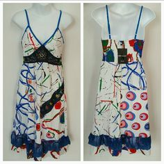 """Urban Chic Sun Dress NWT Brand new with tags  Urban Chic dress with lots of details and prints. Embroidery, beads, lace ruffle, some unfinished edges, to a of colors. Lots of prints, dots, spots, swirls, squiggles, circles, lines and words etc 100%cotton Approx 39"""" long. (dress has adjustable straps, length will vary depending on were you adjust straps.)  *similar to anthro styles Dresses"""