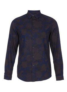 Dark Blue Denim Floral Shirt - Mens Shirts - Clothing - TOPMAN USA