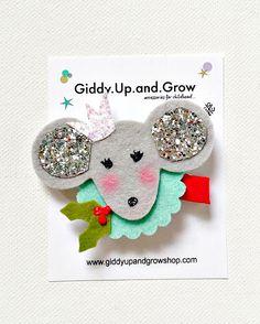 Nutcracker Mouse Felt Hair Clip Christmas Hair by giddyupandgrow