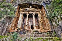 A Lycian tomb in the hills of Fetihye, Turkey.