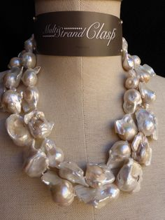 Double strands of large baroque pearls for a spectacular Bridal statement! Custom Bridal jewelry always available!