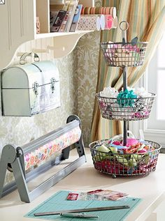 work space...love the 3 tiered basket and especially the vintage lunch box hanging for storage.  Cute!