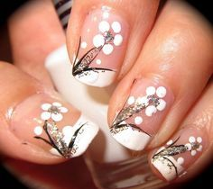 Black And White Nail Designs Black and White Floral Nail Art Design French Nails, French Pedicure, Black And White Nail Designs, Black White, White Art, Floral Nail Art, Nagel Gel, Fabulous Nails, Cute Nail Designs