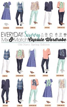 This new Old Navy Spring Capsule Wardrobe just might be my favorite! I am a sucker for the blues, mint and coral with the floral and stripes. Mint jeans and white jeans are both in style this spring. Great fashion collection
