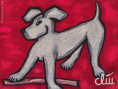 Jacqueline Ditt - Hund auf rotem Grund (Dog on red Font) - universal arts Galerie Studio - Grafik Druck Kunstdruck nach Gemälde universal arts Galerie Studio edition http://www.amazon.de/dp/B00K21DB7G/ref=cm_sw_r_pi_dp_wuZKvb0Y51F60