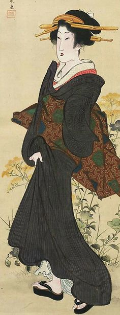 Woman and autumn flowers.  Main detail of a hanging scroll; ink and color on silk,    1818-30,  Japan, by artist Keisai Eisen. MFA (William Sturgis Bigelow Collection).