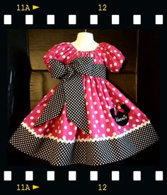Custom Made Minnie Mouse DRESS Embroidered NAME Inspired Hot Pink Polka dot SIZES Hot pink and white dot fabric adorn the top bodice and bottom. Small black/white polka dot at bottom borders topped with white ric rac trim. Full skirt( can be worn with a Little Dresses, Little Girl Dresses, Girls Dresses, Toddler Dress, Baby Dress, Pink Polka Dots, Dress Patterns, Designer Dresses, Doll Clothes