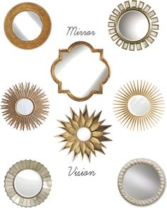 I am semi-obsessed with gold mirrors, starburst mirrors. Or a lot obsessed.