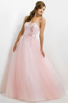 Curve-Enhancing Pink A-Line Strapless Affordable Evening Dress With Crystal Beaded
