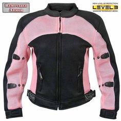 Xelement Womens Black/Pink Mesh Armored Jacket - X-Large Breathable polyester black mesh fabric with pink mesh panels Super-light materials (XL size weights less than 2 pounds) Breathable polyester black mesh lining Mandarin collar Front zippered closure Pink Motorcycle, Womens Motorcycle Helmets, Motorcycle Gear, Motorcycle Jackets, Leather Jackets For Sale, Jackets For Women, Womens Harley Davidson Boots, Mesh Jacket, Pink Jacket