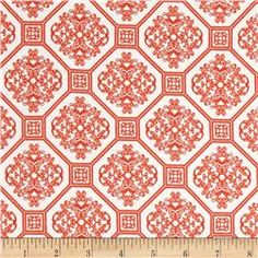 Kaufman Laguna Stretch Jersey Knit Tile Tangerine/White
