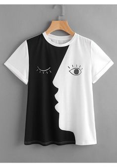 Shop Abstract Face Print Roll Sleeve T-shirt online. SheIn offers Abstract Face … Shop Abstract Face Print Roll Sleeve T-shirt online. SheIn offers Abstract Face Print Roll Sleeve T-shirt & more to fit your fashionable needs. Chemise Fashion, Mode Hijab, How To Roll Sleeves, T Shirts For Women, Clothes For Women, Casual T Shirts, Women's Dresses, Tshirts Online, Diy Clothes