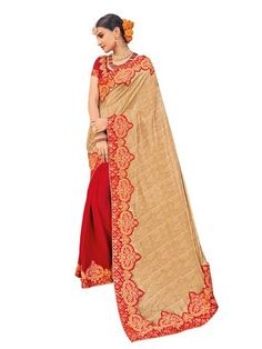 Gold and Red Color Jacquard and Moss Chiffon Saree - RA21217     #sarees #sari #fashion #looking #popular #offers #zinnga #zinngafashion #look #new #fashionable #style #womens #fashionable