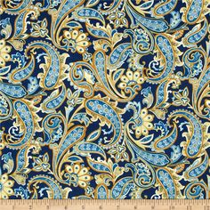 Star Spangled Bandana Paisley Navy/Flax from @fabricdotcom  Designed by Bristol Bay Studio for Benartex Fabrics, this cotton print is perfect for quilting and craft projects as well as apparel and home décor accents. Colors include cream, gold and blue.