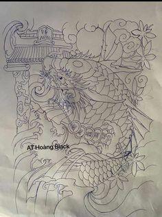 Koi Tattoo Design, Tattoo Designs, Foo Dog Tattoo, Koi Dragon, Koi Fish Tattoo, Japanese Dragon Tattoos, Mini Tattoos, Tattoo Sketches, Horror Films