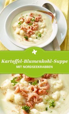 Deftige Kartoffel-Blumenkohl-Suppe mit Nordseekrabben gelingt nach diesem Thermomix ® Rezept. Genau richtig im Herbst! Gefunden auf www.cookidoo.de, dem Thermomix ® Rezept-Portal.