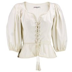 Lace-up style. Ivory cotton with sexy neckline, lace up bodice and three quarter sleeves. White Peasant Blouse, White Peplum Tops, White Cotton Blouse, Cotton Blouses, Peplum Blouse, Peasant Tops, White Tops, Vintage Ysl, Blouse Vintage