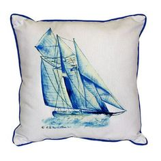 Betsy Drake Interiors Coastal Sailboat Indoor/Outdoor Throw Pillow