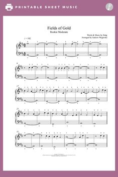 Fields Of Gold by Sting Piano Sheet Music Great Guitar Songs, Fields Of Gold, Digital Sheet Music, Piano Sheet Music, Playground, Keyboard, Children Playground, Computer Keyboard, Piano Music