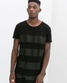 Striped faux leather combination t-shirt (Zara-SS 2014)