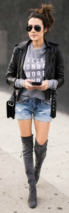A graphic tee + stylish + leather jacket + distressed denim + authentically edgy + simply never go out of style + Christine Andrew.   Jacket: Allsaints, Sweater: ILY Couture.