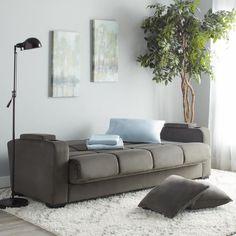 Handy Living Tevin Grey Velvet Convert A Couch Futon Sofa Sleeper Polyester