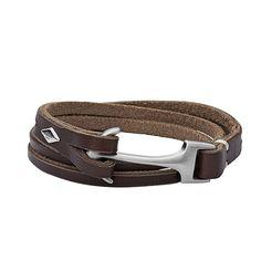 Fossil Men Anchor Bracelet Brown - One size Fossil Bracelet, Bangle Bracelet, Armband Vintage, Leather Men, Brown Leather, Cuir Vintage, Nautical Bracelet, Rfid Wallet, Leather Bracelets