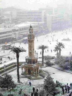 Tilt-shift photo of Izmir Clock Tower in the Snow Nomadic View - Travels Places To Travel, Places To See, Time Travel, Tilt Shift Photos, Wonderful Places, Beautiful Places, Tilt Shift Photography, Republic Of Turkey, Visit Turkey