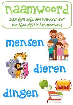 Poster taal: naamwoorden © Sarah Verhoeven Learn Dutch, Classroom Language, School Projects, Fun Learning, My Boys, Children, Kids, Back To School, Teaching