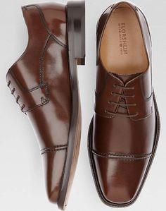 Florsheim Asset Brown Lace Up Cap Toe Dress Shoes | Men's Wearhouse