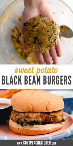These vegetarian sweet potato burgers are the perfect weeknight dinner recipe-- and they are so easy to make! Tasty Vegetarian Recipes, Vegan Dinner Recipes, Vegetarian Recipes Dinner, Vegan Dinners, Vegan Recipes Easy, Cooking Recipes, Vegetarian Burgers, Weeknight Dinners, Recipe For Veggie Burgers