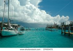 Storm rolling in over the island of Bimini in the Bahamas