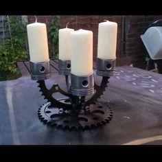 Candle Holder...when hubbys crap is in the way...stick a candle in it.
