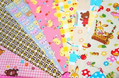 Japanese fabric scrap animals  pieces  Si104 by beautifulwork, $7.50