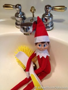 Elf On The Shelf idea: Cleaning Up