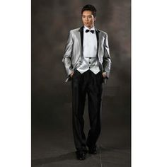 Mens Silver Gray Grey Historical Vintage Edwardian Style Wedding Prom Tuxedo SKU-123095