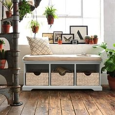 Beautiful Tetbury Grey Hall Bench with Cushion. Free UK Delivery on all storage bench orders. Coat And Shoe Storage, Shoe Storage Shelf, Storage Ideas, Hallway Storage Bench, Bench With Shoe Storage, Wood House Design, Diy Bank, Hallway Furniture, 2x4 Furniture
