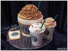 Starbucks cake- I got to remember this. I probably won't use coffee cups, but I'll think of something cool.