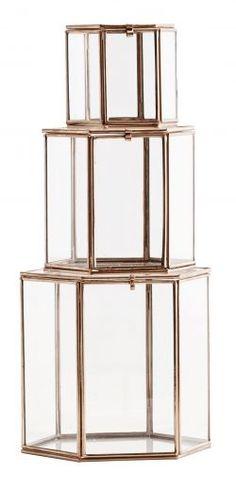 Madam Stoltz / Šestistranný skleněný box Copper