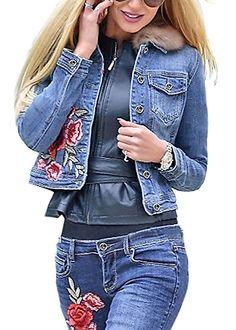 Damen-Jeansjacke Langarm Elegantes Blumenstickerei Kurzmantel Blau S -  Jeansjacke frauen jeansjacken damen jeans outfit cd1f32945f