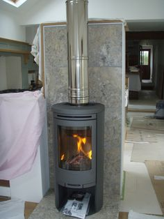 Contura 556 freestanding wood burning stove installation from Kernow Fires.
