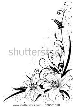 vector background with flowers of lily in black and white fo.- vector background with flowers of lily in black and white for corner design vector background with flowers of lily in black and white for corner design - Lilies Drawing, Wedding Titles, Sharpie Drawings, Page Borders Design, Border Embroidery Designs, Page Decoration, Fabric Stamping, Black Artwork, Floral Border