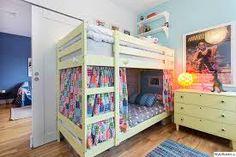 Super kids room for boys toddlers sons bunk bed 63 ideas Bunk Bed Curtains, Ikea Bunk Bed, Ikea Beds, Kids Room Bed, Girl Room, Girls Bedroom, Mydal Ikea, Toddler Room Organization, Girls Bunk Beds