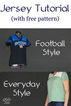 DIY Clothing & Tutorials: Women's Football Jersey Tutorial with Free Pattern - Melly Sews  https://diypick.com/fashion/diy-clothes/diy-clothing-tutorials-womens-football-jersey-tutorial-with-free-pattern-melly-sews/