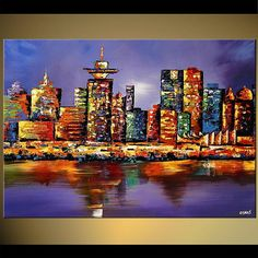 Canvas Art, Modern Wall Art, Stretched, Embellished & Ready-to-Hang Print - Vancouver - Art by Osnat Skyline Painting, City Painting, Cityscape Art, Oil Painting Abstract, Painting Metal, Metal Artwork, Texture Painting, Abstract Print, Abstract City