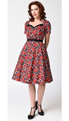 Voodoo Vixen White & Red Floral Short Sleeve Holly Swing Dress
