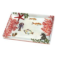 """Hobe Sound Tray  Vivid assortment of sea life on a wood tray individually and totally handpainted with multiple coats of lacquer to enhance the colors and make it impervious to alcohol and water. 19"""" x 13"""" with handle openings and protective leather bottom."""